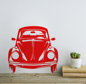 Classic Vw Beetle Front View Vinyl Wall Sticker - decorative accessories