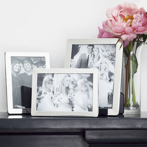 Personalised Solid Silver Photograph Frames - 25th anniversary: silver