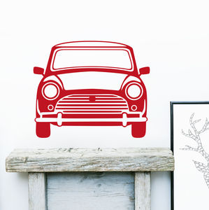 Classic Mini Vinyl Wall Sticker Front - decorative accessories