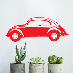 Classic Vw Beetle Vinyl Wall Sticker - decorative accessories