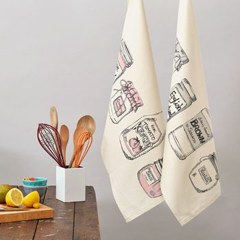 Set Of Two Condiments Tea Towels