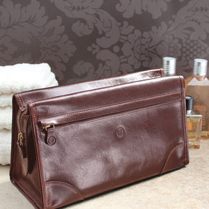 Luxury Large Leather Wash Bag. 'The Tanta' - bathroom