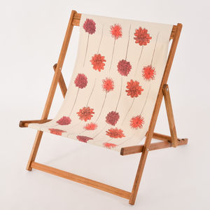 Screenprinted Double Deckchair Dahlias - garden furniture