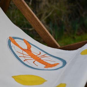 Screenprinted Double Deckchair Lobster And Lemon - garden furniture