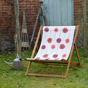 Screenprinted Dahlias Double Deckchair - garden furniture