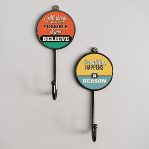 Inspirational Sayings Quotes Wall Coat Hooks