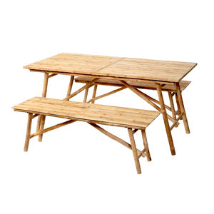 Bamboo Table And Bench Set - garden furniture