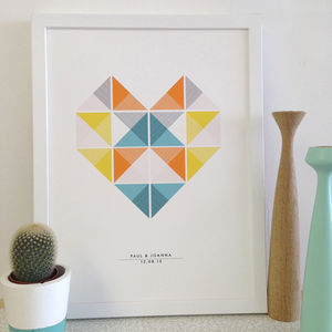 Personalised Geometric Heart Art Print