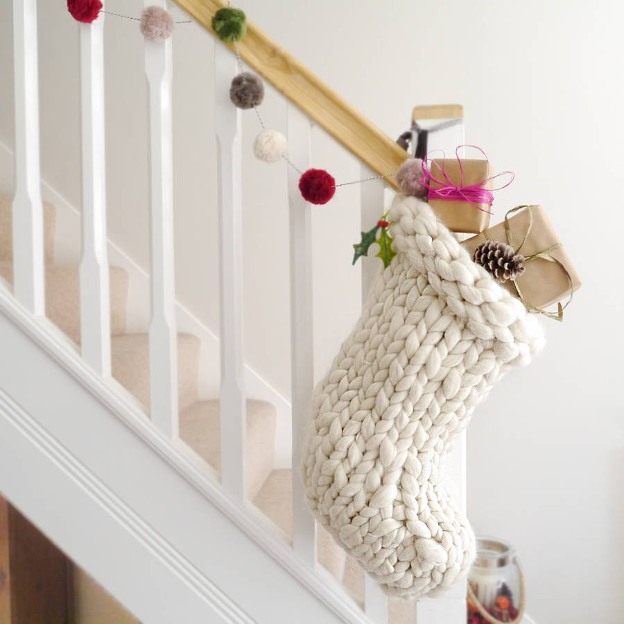 chunky hand knitted christmas stocking by lauren aston notonthehighstreet.com