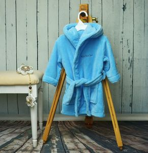 Personalised Fleece Baby Robe For Boys