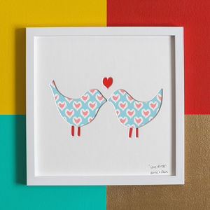'Love Birds' Birds Wedding Gift Artwork