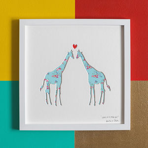 'Love Is In The Air' Giraffes Romantic Gift Artwork