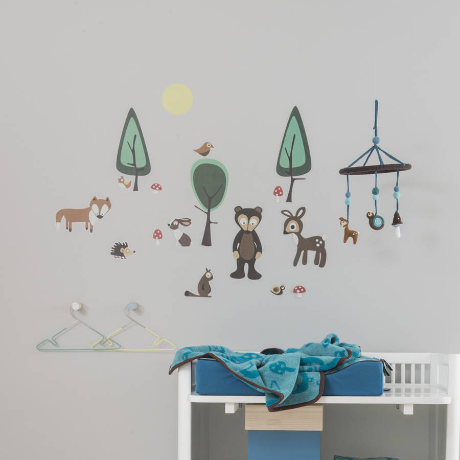 forest wall sticker set by rocket and fox. Black Bedroom Furniture Sets. Home Design Ideas