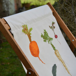 Screenprinted Double Deckchair Allotment Vegetables - garden furniture