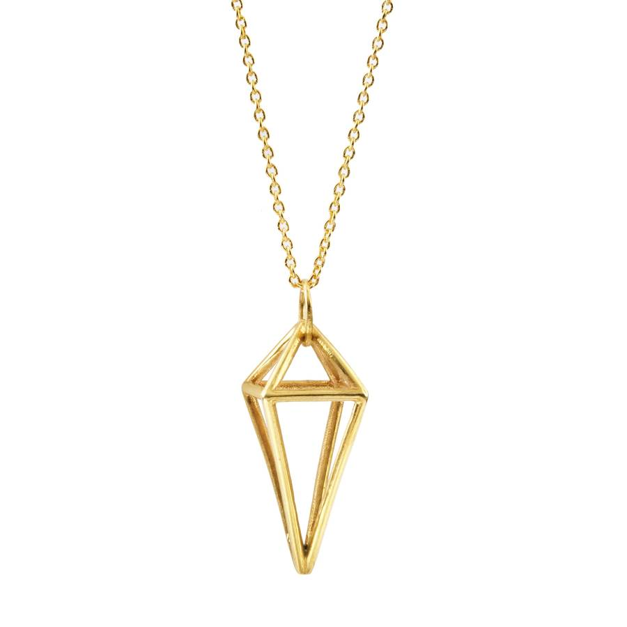 geometric modern plated v gold pendant az electrocoated jewelry bling pfs silver necklace