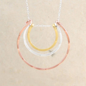 Curved Bar Mixed Metal Sterling Silver Layered Necklace - rose gold jewellery