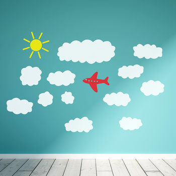 Cloud And Plane Wall Sticker Set