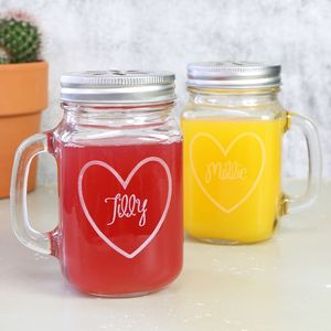 Personalised Mason Drinking Jar With Engraved Heart - gifts for couples