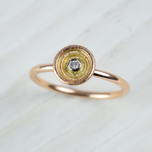 18ct Multi Gold And Diamond Ring