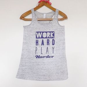 'Work Hard Play Harder' Floaty Racerback Vest - lounge & activewear