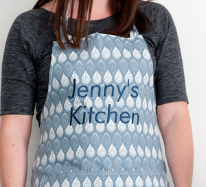 Personalised Isabella Blue Organic Apron - aprons