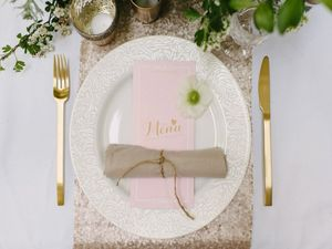 Champagne Sequin Table Runner - table linen