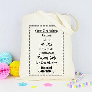 Personalised 'Grandma' Loves Shopping Bag - shoulder bags