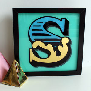 Gold Leaf Circus Style Initial Letter Sign - contemporary art