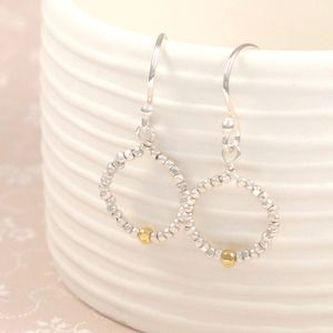 Zanzibar Single Gold Bead Silver Hoop Earrings