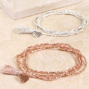 Personalised Dainty Seed Bead And Tassel Wrap Bracelet
