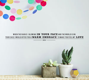 Personalised Song Lyric Vinyl Wall Sticker - decorative accessories