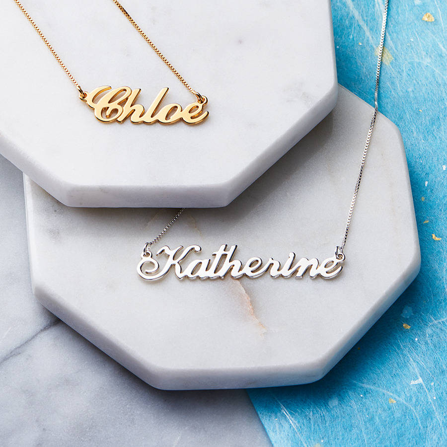 necklace zales name necklaces gold baby with plate in c cursive silver chains sterling