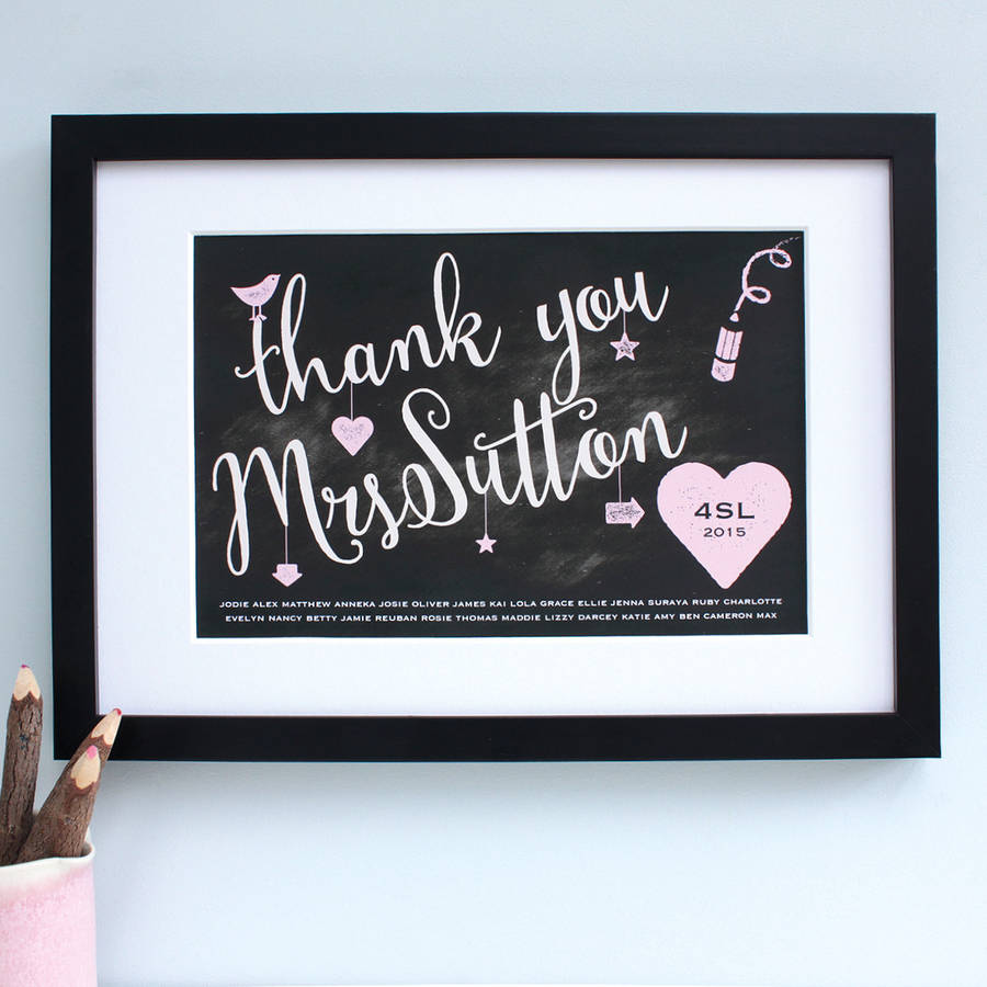 Personalised Teacher Thank You Framed Print