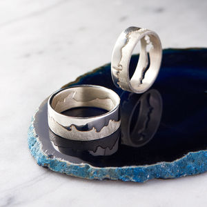Personalised Silver Coastline Map Ring - wedding rings