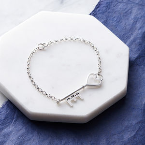 Personalised Silver Key Bracelet - gifts for her