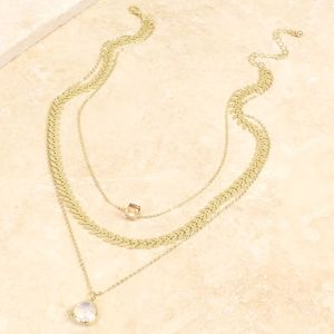 Triple Layered Gem Necklace - stocking fillers under £15