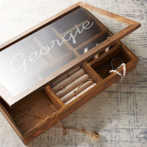 Extra Large Personalised Wooden Jewellery Box - 50th birthday gifts