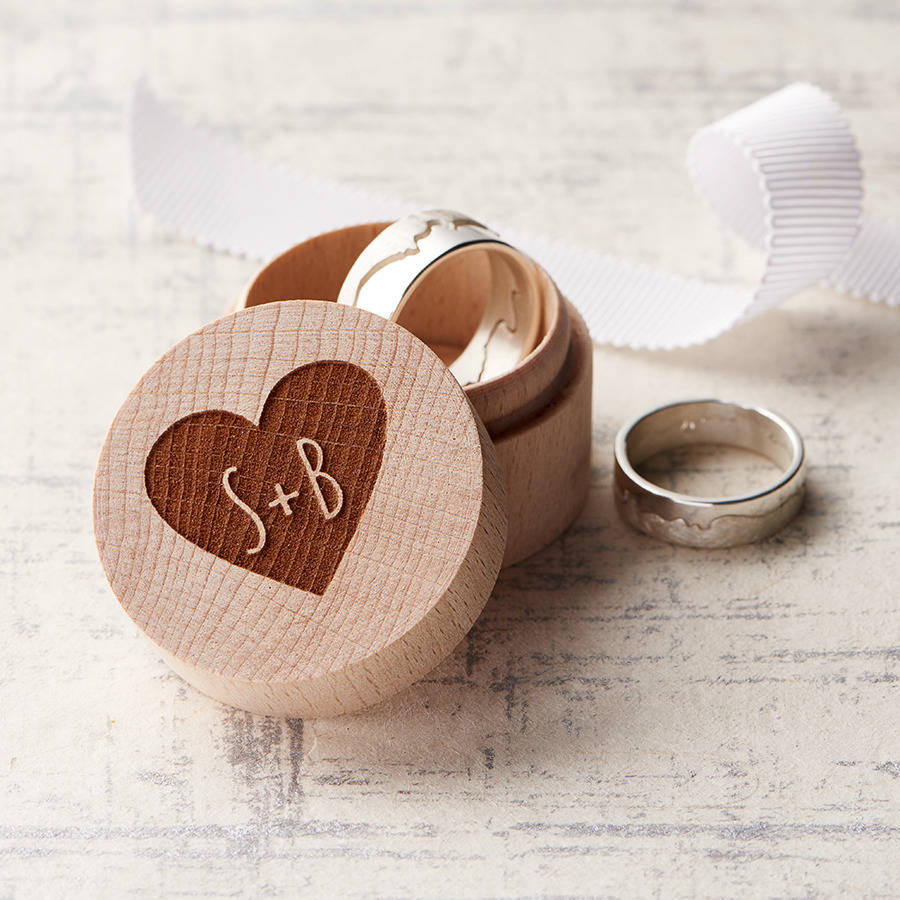 personalised wedding ring box by clouds and currents