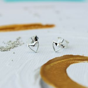 Mini Sterling Silver Open Heart Earrings - for children