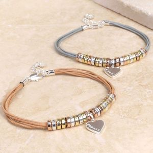 Personalised Leather And Mixed Metal Links Bracelet - women's jewellery