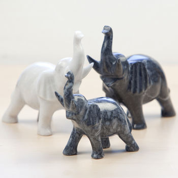 Mummy And Baby Marble Elephants
