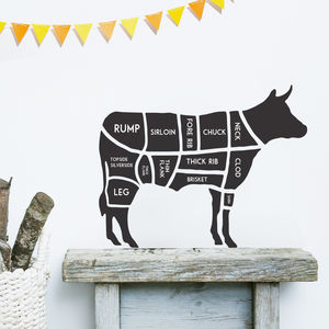 Butcher's Cow Wall Sticker - bedroom