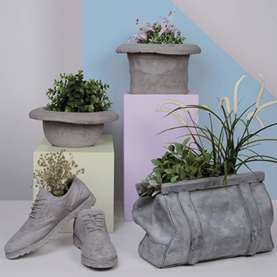 Concrete bag plant holder by all things brighton beautiful for How to make designs in concrete