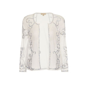 Sheer White Embellished Shrug - women's fashion