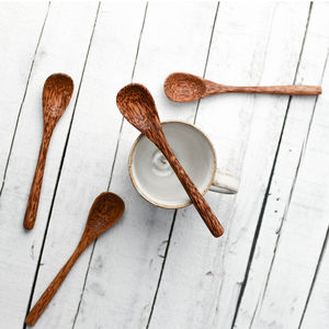 Set Of Four Coco Wood Teaspoons
