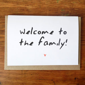 Welcome To The Family Card - wedding cards