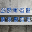 Blue And White Marbled Tea Mug