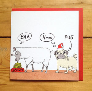 'Baa Hmm Pug' Christmas Cards