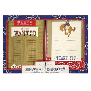 Cowboy Party Wild West Invitations And Thank You Notes - thank you cards