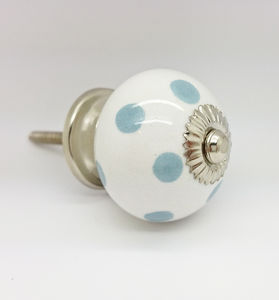 Grey Polka Dot Cupboard Knob Drawer Door Pull Handle - door knobs & handles